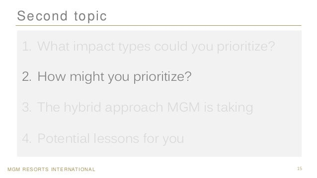 MGM RESORTS INTERNATIONAL 15 Second topic 1. What impact types could you prioritize? 2. How might you prioritize? 3. The h...