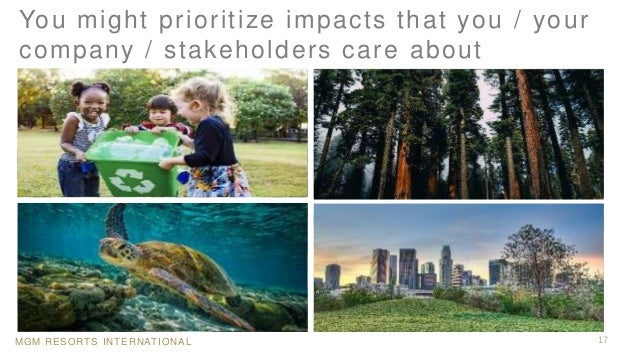MGM RESORTS INTERNATIONAL 17 You might prioritize impacts that you / your company / stakeholders care about