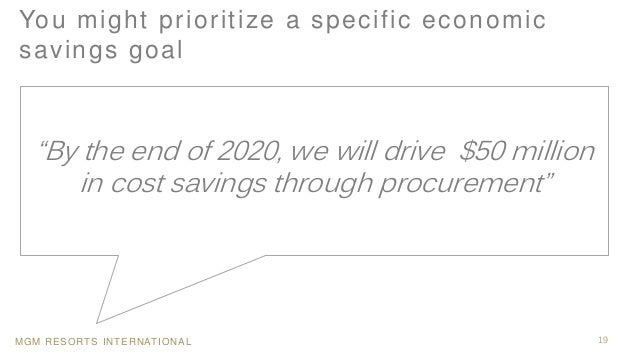 """MGM RESORTS INTERNATIONAL 19 You might prioritize a specific economic savings goal """"By the end of 2020, we will drive $50 ..."""