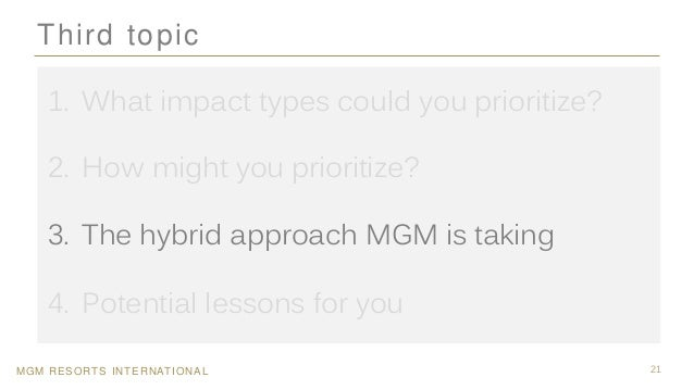 MGM RESORTS INTERNATIONAL 21 Third topic 1. What impact types could you prioritize? 2. How might you prioritize? 3. The hy...