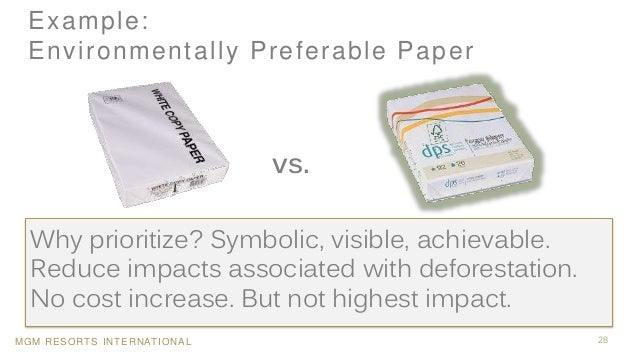 MGM RESORTS INTERNATIONAL Example: Environmentally Preferable Paper 28 Why prioritize? Symbolic, visible, achievable. Redu...