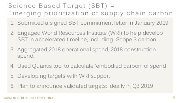 MGM RESORTS INTERNATIONAL 37 Science Based Target (SBT) = Emerging prioritization of supply chain carbon 1. Submitted a si...