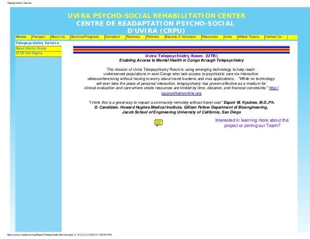 Telepsychiatry Service  Home  UVIRA PSYCHO-SOCIAL REHABILITATION CENTER CENTRE DE READAPTATION PSYCHO-SOCIAL D'UVIRA (CRPU...