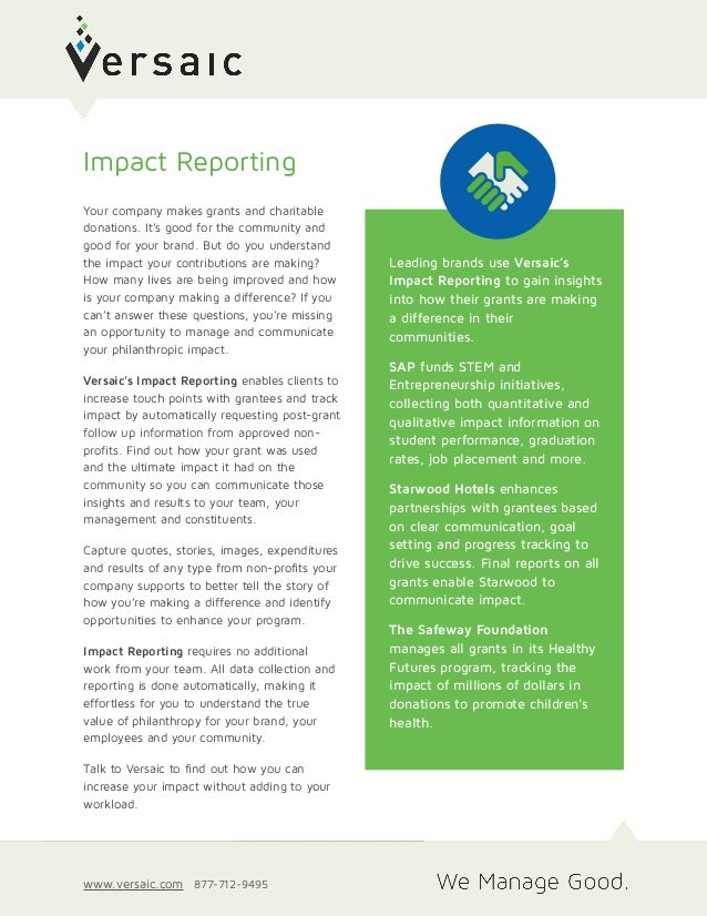 Leading brands use Versaic's Impact Reporting to gain insights into how their grants are making a difference in their comm...