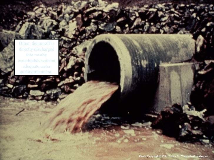Often, the runoff is directly discharged into nearby waterbodies without adequate water quality treatment.  Photo Copyrigh...