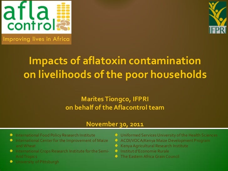 Impacts of aflatoxin contamination    on livelihoods of the poor households                                Marites Tiongco...