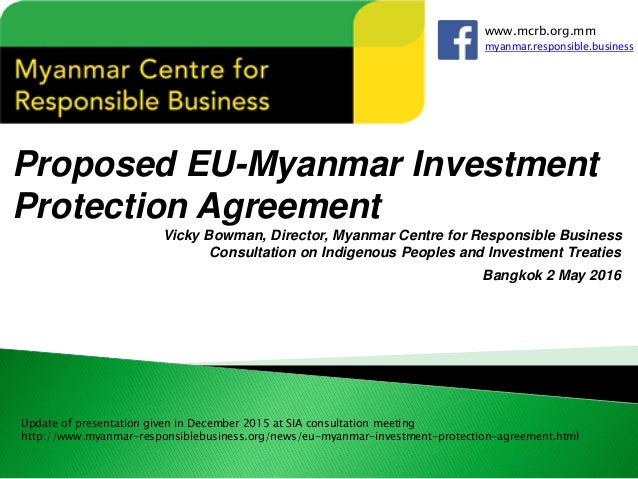 Impacts of proposed EU Myanmar Investment Agreement Update – Business Investment Agreements