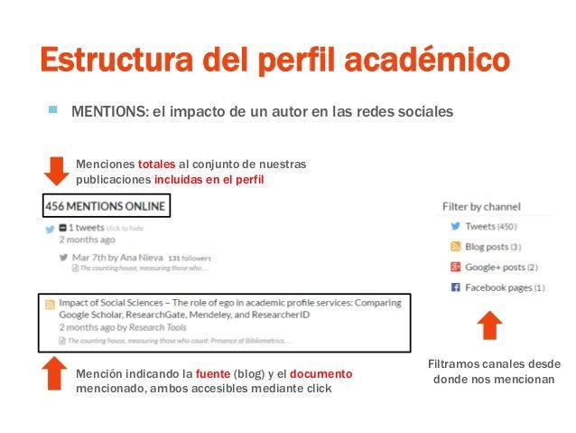 Estructura del perfil académico ▀ MENTIONS: el impacto de un autor en las redes sociales Filtramos canales desde donde nos...