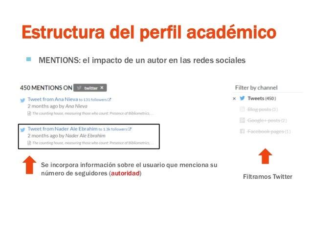 Estructura del perfil académico ▀ MENTIONS: el impacto de un autor en las redes sociales Filtramos Twitter Se incorpora in...