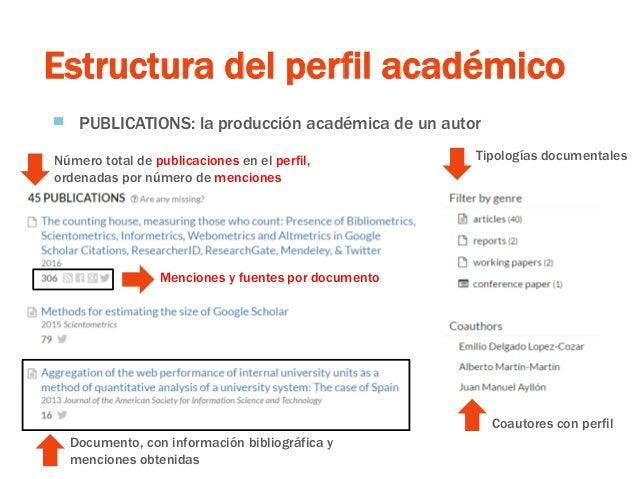 Estructura del perfil académico ▀ PUBLICATIONS: la producción académica de un autor Número total de publicaciones en el pe...