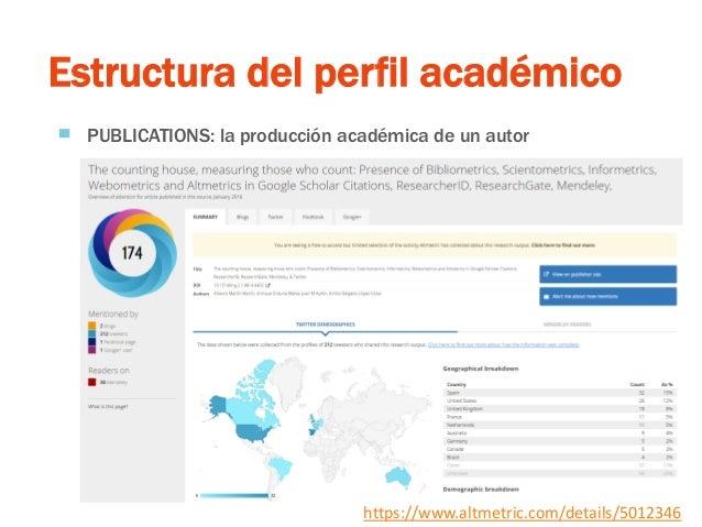 Estructura del perfil académico ▀ PUBLICATIONS: la producción académica de un autor https://www.altmetric.com/details/5012...
