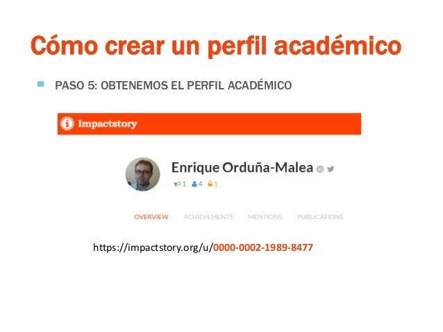 Cómo crear un perfil académico ▀ PASO 5: OBTENEMOS EL PERFIL ACADÉMICO https://impactstory.org/u/0000-0002-1989-8477