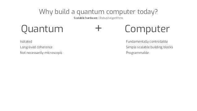 Why build a quantum computer today? Scalable hardware | Robust algorithms Quantum Computer Isolated Long-lived coherence N...