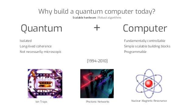 Why build a quantum computer today? Scalable hardware | Robust algorithms Quantum + Computer Isolated Long-lived coherence...