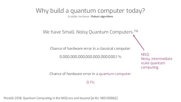 Why build a quantum computer today? Scalable hardware | Robust algorithms We have Small, Noisy Quantum Computers TM Chance...