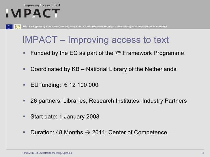 OCR challenges in historic documents and the contribution of IMPACT Slide 3
