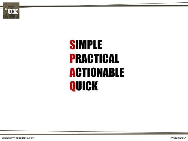 @AdamtheIAapolansky@redearthia.com SIMPLE PRACTICAL ACTIONABLE QUICK