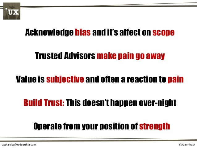 @AdamtheIAapolansky@redearthia.com Value is subjective and often a reaction to pain Build Trust: This doesn't happen over-...