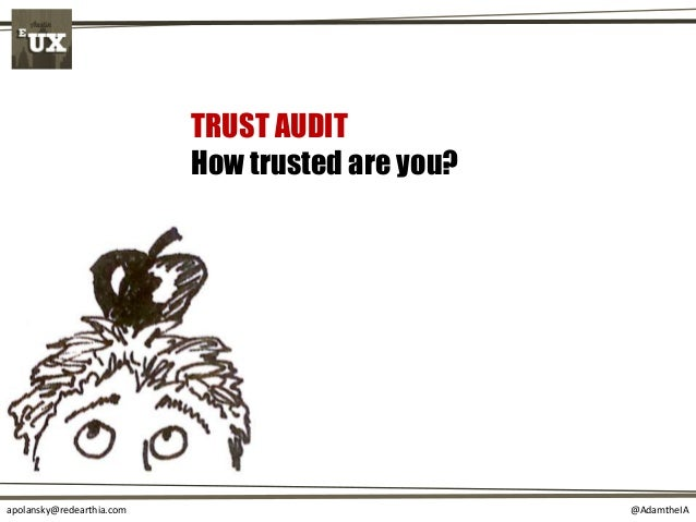 @AdamtheIAapolansky@redearthia.com TRUST AUDIT How trusted are you?