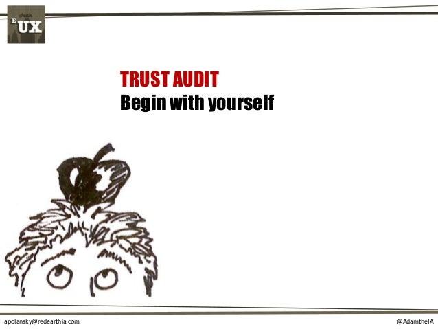 @AdamtheIAapolansky@redearthia.com TRUST AUDIT Begin with yourself