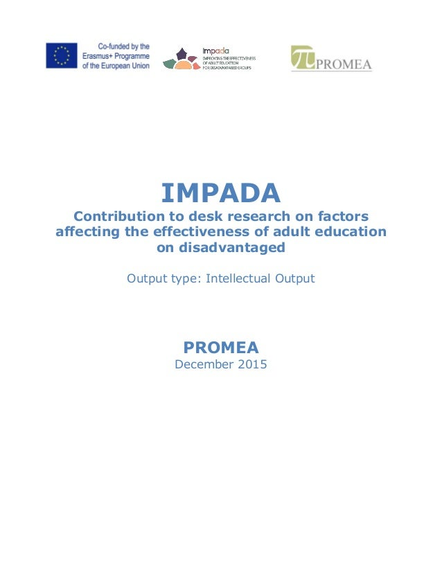 IMPADA Contribution to desk research on factors affecting the effectiveness of adult education on disadvantaged Output typ...