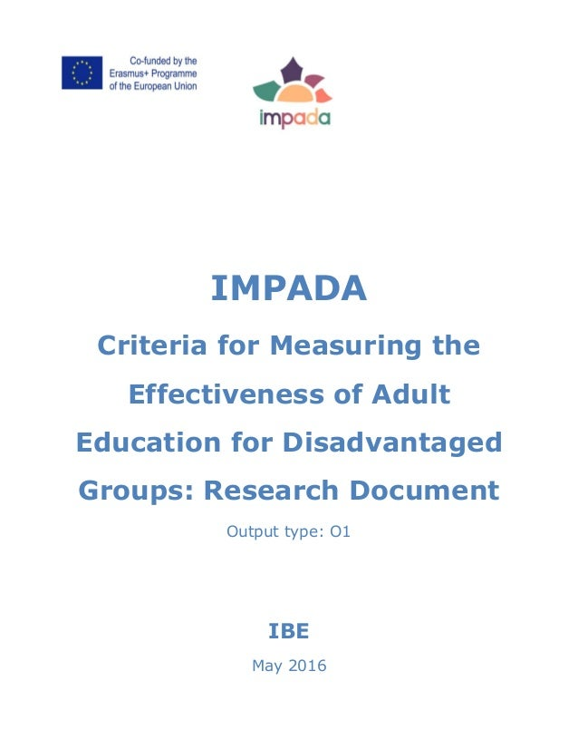 IMPADA Criteria for Measuring the Effectiveness of Adult Education for Disadvantaged Groups: Research Document Output type...