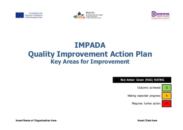 Insert Name of Organisation here Insert Date here IMPADA Quality Improvement Action Plan Key Areas for Improvement Red Amb...