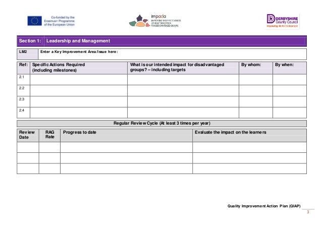 template for quality improvement plan - impada o2 a3 o2 a3 quality improvement action plan