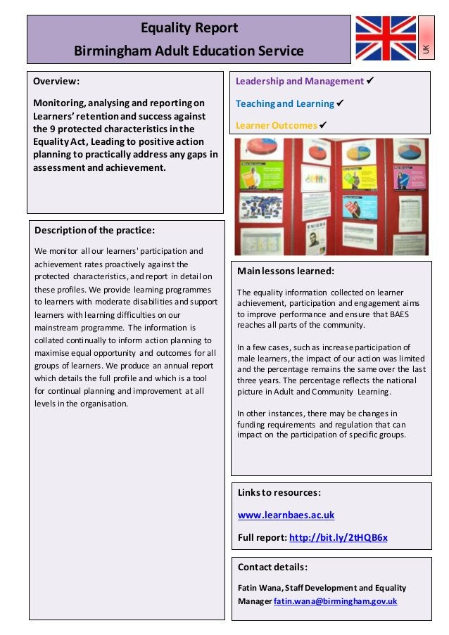 Leadershipand Management Teaching, Learningand AssessmentPractice Learner Outcomes 22 Mainlessons learned: The equality in...