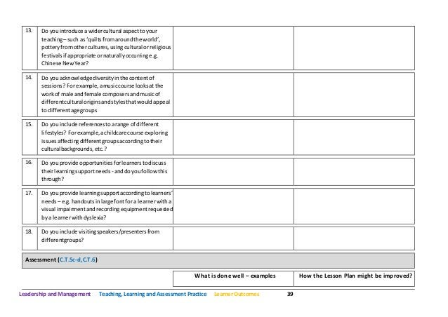 Leadership and Management Teaching, Learning and Assessment Practice Learner Outcomes 39 13. Do youintroduce a widercultur...