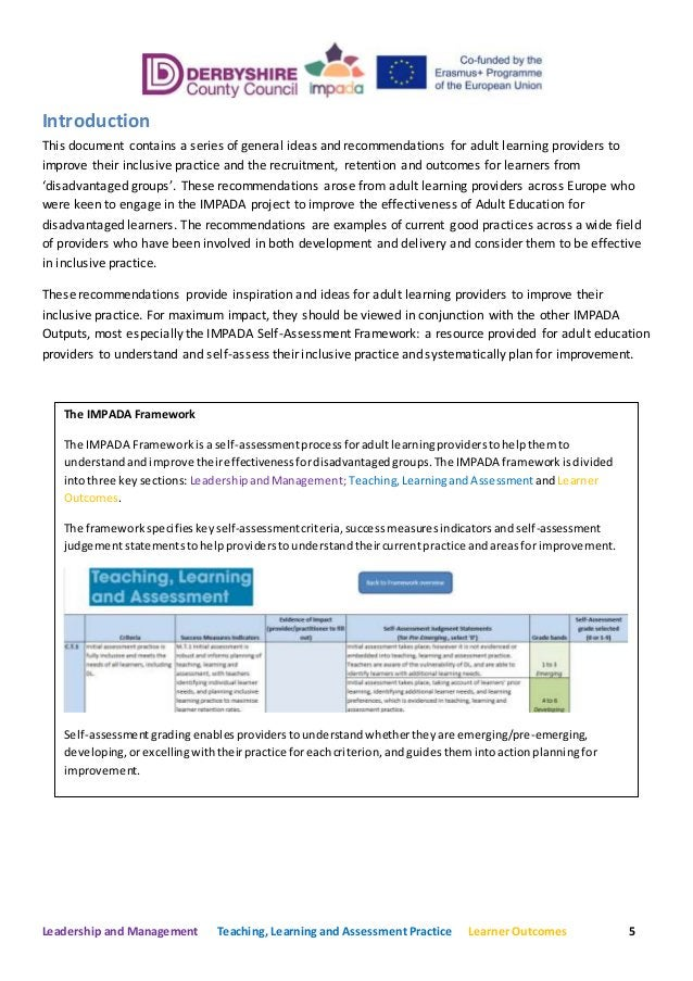 Leadership and Management Teaching, Learning and Assessment Practice Learner Outcomes 5 Introduction This document contain...