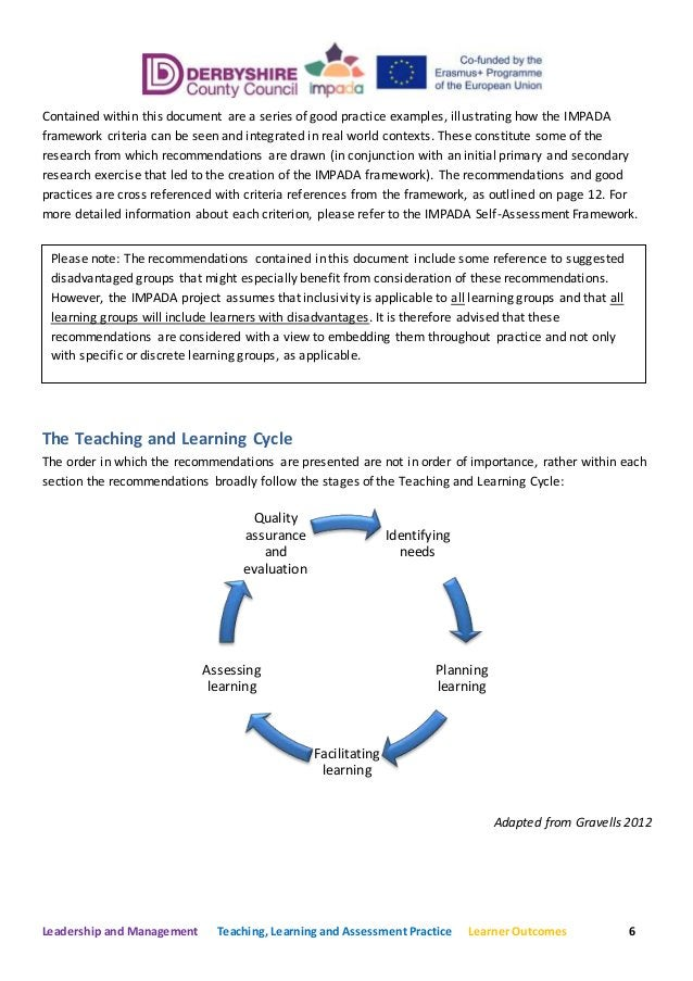 Leadership and Management Teaching, Learning and Assessment Practice Learner Outcomes 6 Contained within this document are...