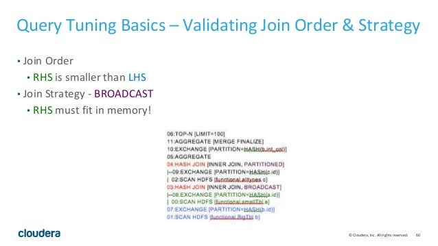 60© Cloudera, Inc. All rights reserved. Query Tuning Basics – Validating Join Order & Strategy • Join Order • RHS is small...
