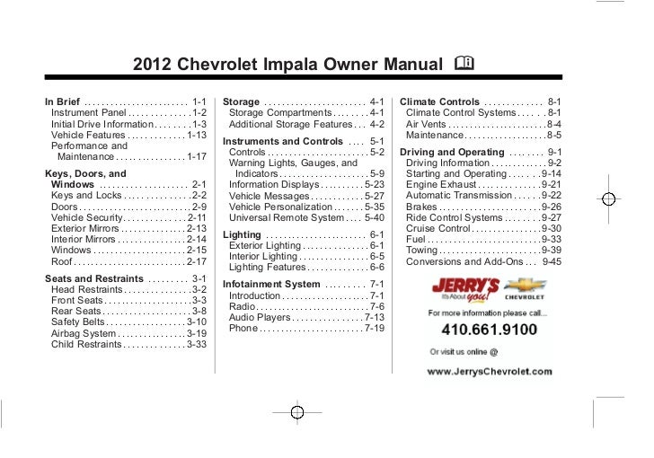 2012 Chevy Impala Owners Manual Baltimore Maryland