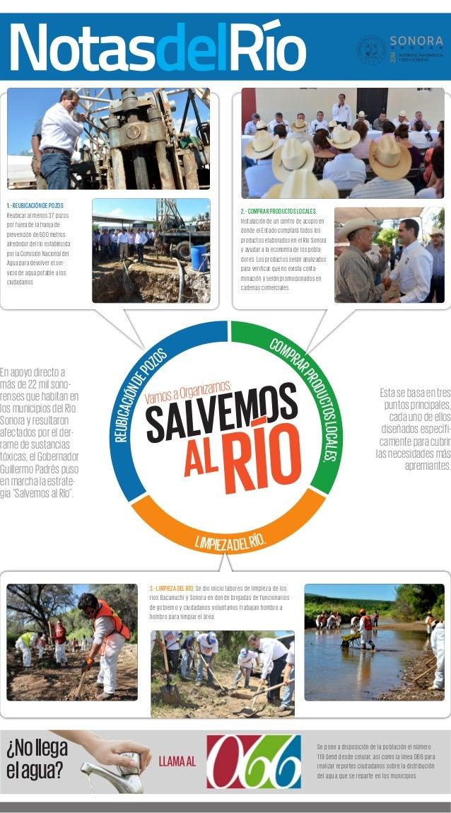 REUBICACIÓN DE POZOS COMPRAR PRODUCTOS LOCALES.  LIMPIEZA DEL RÍO.  En apoyo directo a  más de 22 mil sono-renses  que hab...