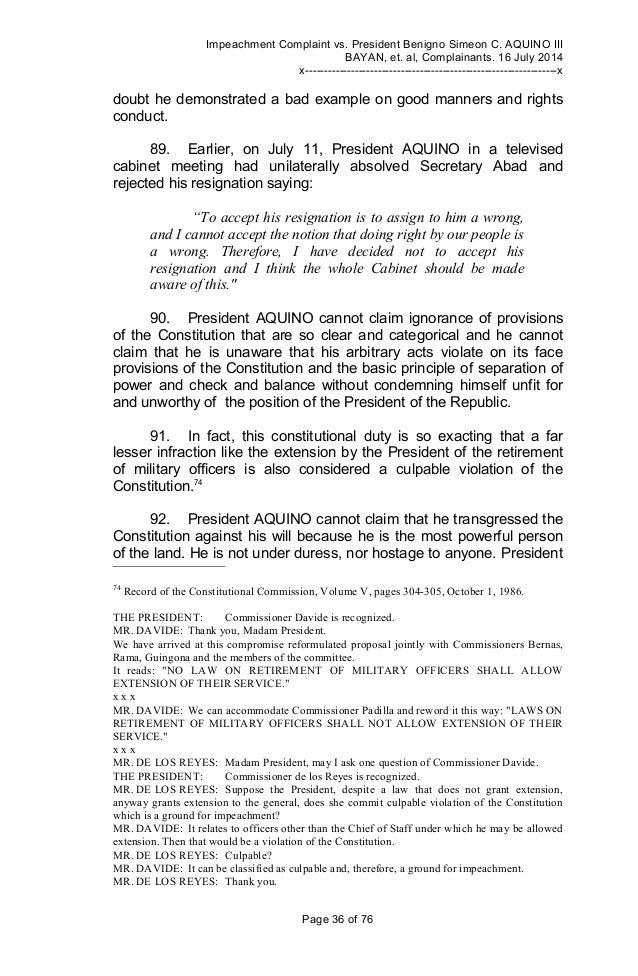 Impeachment Complaint Against President Benigno Aquino