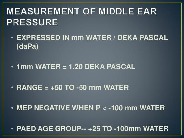 • EXPRESSED IN mm WATER / DEKA PASCAL (daPa) • 1mm WATER = 1.20 DEKA PASCAL • RANGE = +50 TO -50 mm WATER • MEP NEGATIVE W...