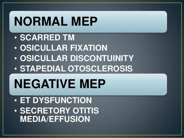 NORMAL MEP • SCARRED TM • OSICULLAR FIXATION • OSICULLAR DISCONTUINITY • STAPEDIAL OTOSCLEROSIS NEGATIVE MEP • ET DYSFUNCT...