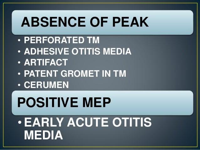 ABSENCE OF PEAK • PERFORATED TM • ADHESIVE OTITIS MEDIA • ARTIFACT • PATENT GROMET IN TM • CERUMEN POSITIVE MEP • EARLY AC...