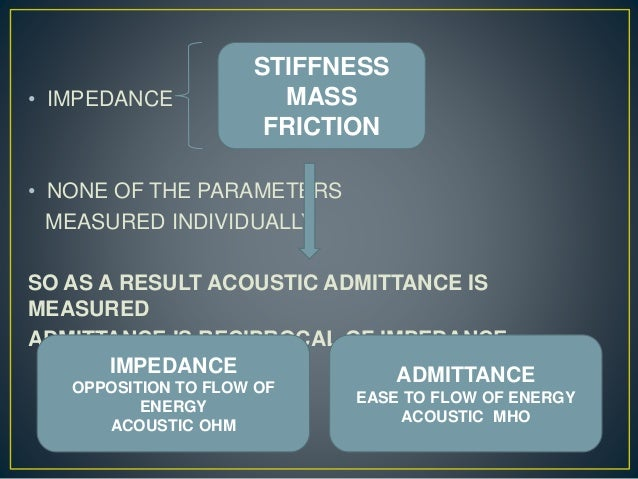 • IMPEDANCE • NONE OF THE PARAMETERS MEASURED INDIVIDUALLY SO AS A RESULT ACOUSTIC ADMITTANCE IS MEASURED ADMITTANCE IS RE...