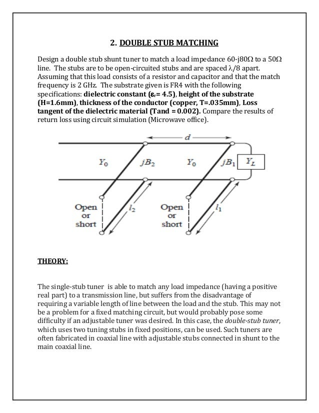 double stub impedance matching essay In electronics, impedance matching is the practice of designing the input  impedance of an  in the following summary we will consider the general case  when resistance  this transformer converts a balanced signal from the antenna  (via 300-ohm twin-lead) into an unbalanced signal (75-ohm coaxial cable such  as rg-6.
