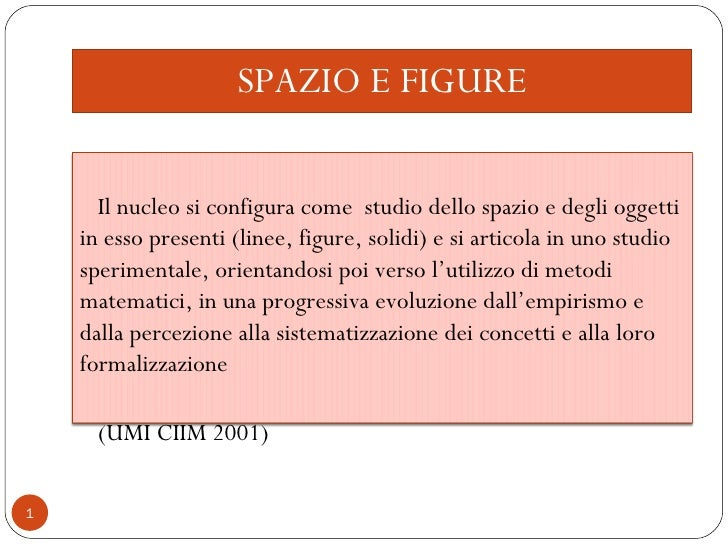 SPAZIO E FIGURE Il nucleo si configura come  studio dello spazio e degli oggetti in esso presenti (linee, figure, solidi) ...