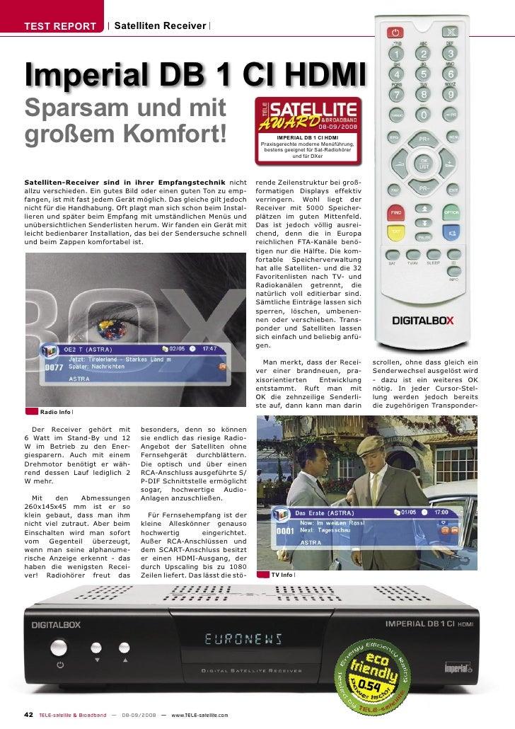 TEST REPORT                  Satelliten Receiver     Imperial DB 1 CI HDMI Sparsam und mit großem Komfort!                ...