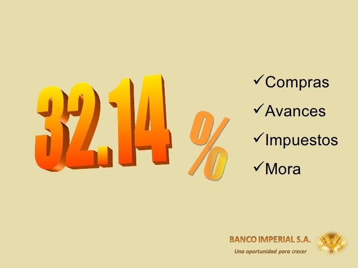 32.14 % <ul><li>Compras </li></ul><ul><li>Avances </li></ul><ul><li>Impuestos </li></ul><ul><li>Mora </li></ul>