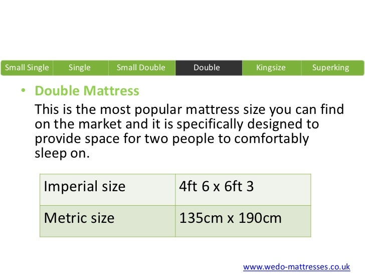 Imperial and metric mattress sizes