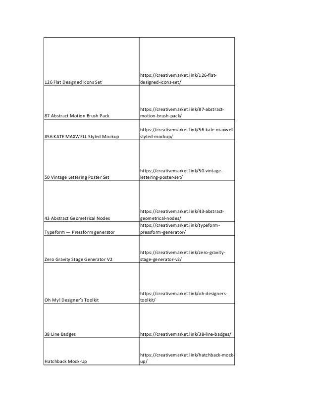 Creativemarket complete list