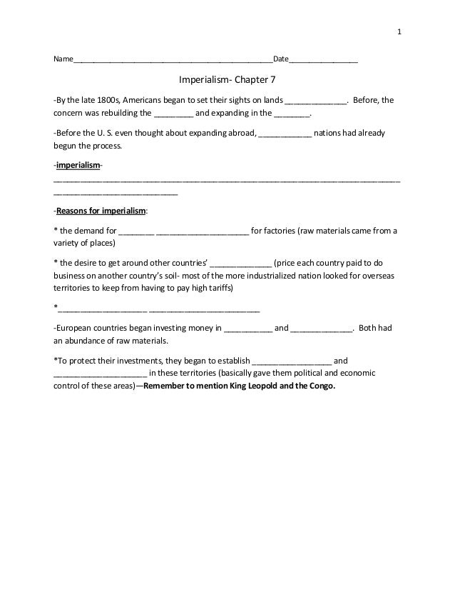 Imperialism Guided Reading Student Notes Chapter 7