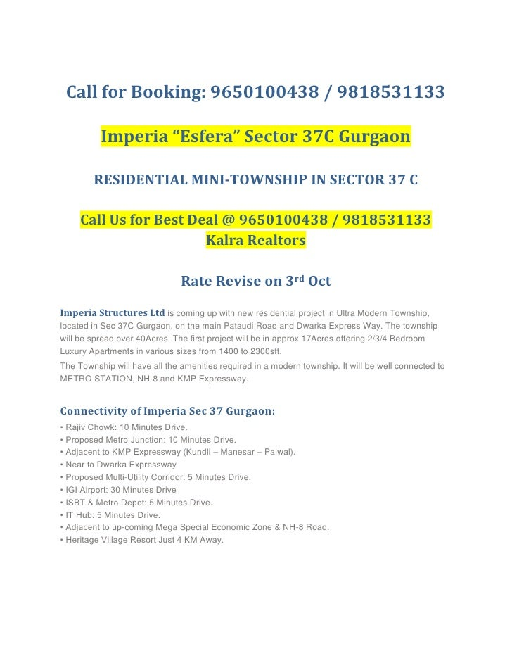 """Call for Booking: 9650100438 / 9818531133<br />Imperia """"Esfera"""" Sector 37C Gurgaon<br />RESIDENTIAL MINI-TOWNSHIP IN SECTO..."""