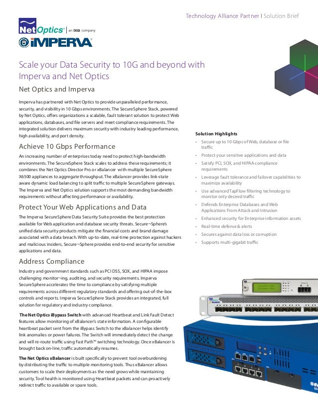 Technology Alliance Partner I Solution Brief  Scale your Data Security to 10G and beyond with Imperva and Net Optics Net O...