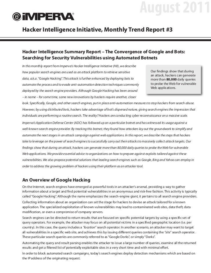 Google Hacking: Convergence of Google and Bots